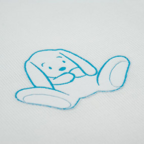 Плед вязанный на хлопковом подкладе Зайка (85 на 100 см), белый