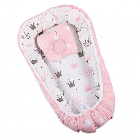 """Комплект """"Королевский сон"""" розовый (кокон, ортопедический матрасик, подушка) 50х85 см"""
