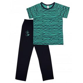Пижама для мальчика футболка/штаны (104475), бирюза/синий