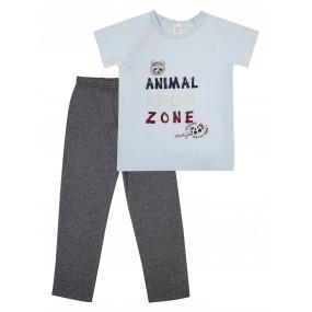 Пижама для мальчика футболка/штаны (104475), голубой/графит серый енот