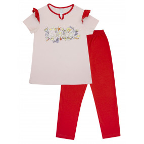 Пижама для девочки футболка/штаны (104389), персик/тёмн.коралл ракушки