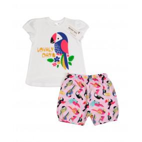 """Комплект """"Funny Birds"""" кулир (футболка, шорты)"""