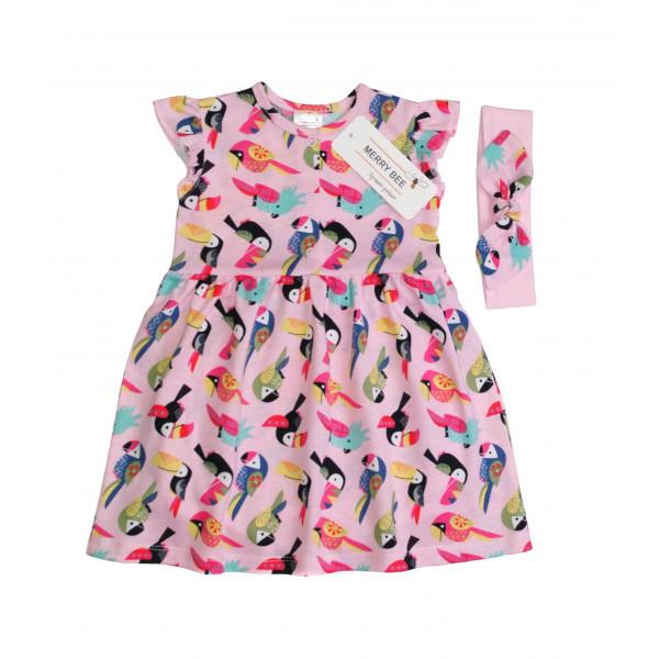 Боди-платье с повязкой Funny birds (кулир)