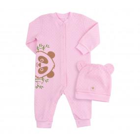 Комбинезон Панда розовый (хлопок ажурный)