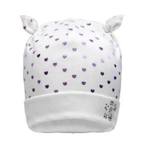 Демисезонная шапка 20132 (премиум), молочный в сердечки