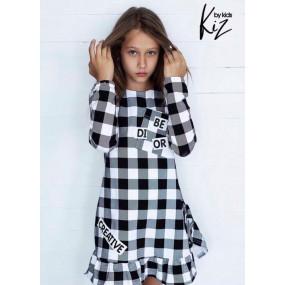 Платье KIZ by Kids дизайнерское (Польша) чёрно-белая клетка