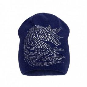 Шапка зима 2081 синий (премиум) вязка на флисе