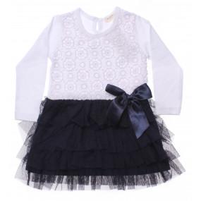 Платье Crochett Girl бело-синее с длинным рукавом