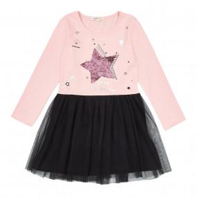 Платье STAR персик с чёрным