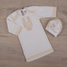 "Сорочка крестильная для мальчика ""Чарівність"" + берет"