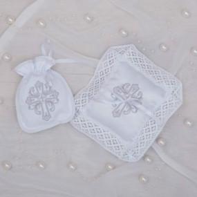 "Набор ""Вишуканий звичай"" (белый/серебро) мешочек для первого локона, подушечка для крестика"