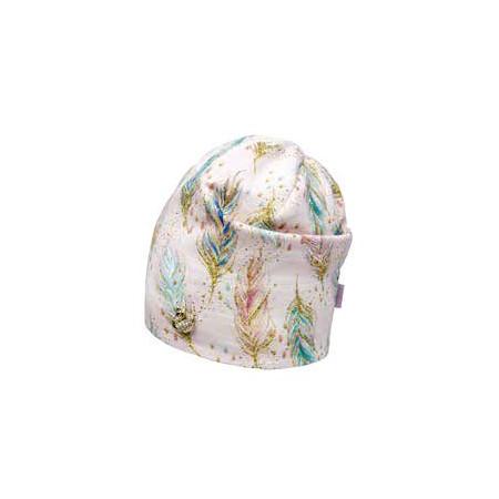Деми шапка 20216 (премиум), перья пудра