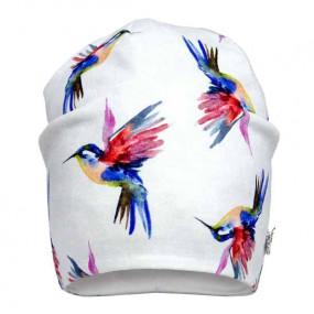 Деми шапка 20213 (премиум), колибри на сером