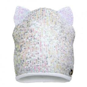 Деми шапка 20203 экрю (премиум), пайетки/глиттерные ушки