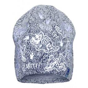 Деми шапка 20231 серый (плотный трикотаж) светоотражающий принт