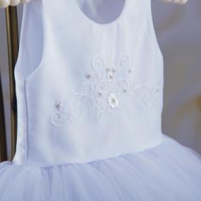 """Платье """"Настюша"""" с вышивкой + повязка (атлас, фатин) белое"""