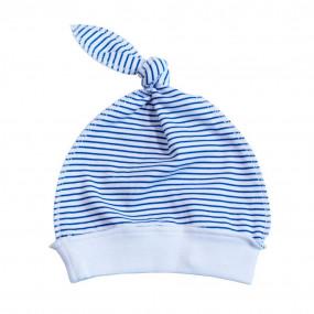 Шапочка 4181 Полоска синяя (100% хлопок)