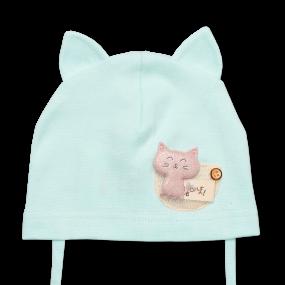 Деми шапка Крошка Китти (однослойный хлопок), ментол