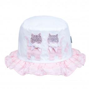 Панама 20308 для девочек Котики, завязки (розовый декор) 100%
