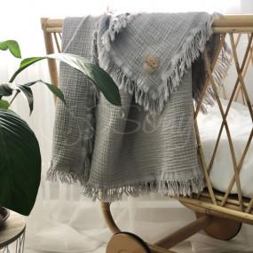 Плед MSonya серый (муслин жатка) 100х80 см