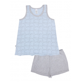 Пижама для девочки Spirit майка/шорты (104626), голубой/серый