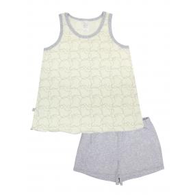 Пижама для девочки Spirit майка/шорты (104626), молоко/серый