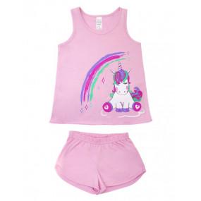 Пижама для девочки Единорог майка/шорты (104380), роза