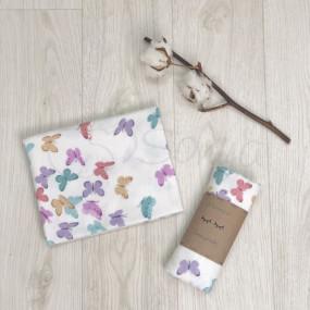 Пеленка Бабочки роз фланель (100х80 см)