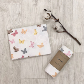 Пеленка Бабочки беж фланель (100х80 см)