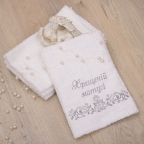 "Рушник ""Хрещеній матусі"", белый/сереброя вышивка, махра 70 на"