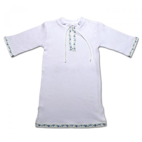 """Кристиан-2"""" крестильная рубаха (белый с голубым орнаментом)"""