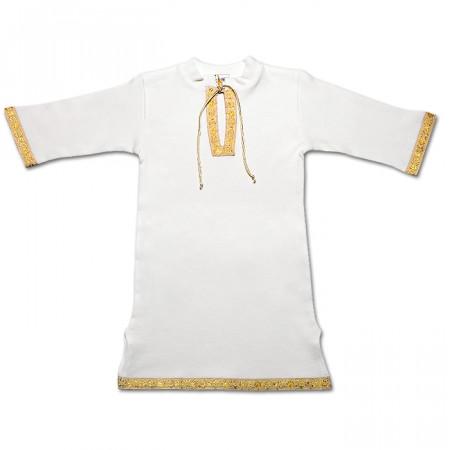 """""""Кристиан-2"""" крестильная рубаха (молочный с золотом)"""