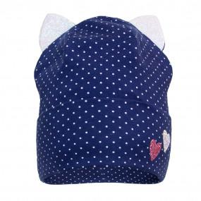 Деми шапка 21316 (премиум), синяя/глиттерные ушки
