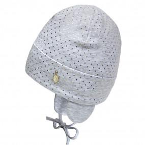 Деми шапка 21347 серый (на флисе) завязки