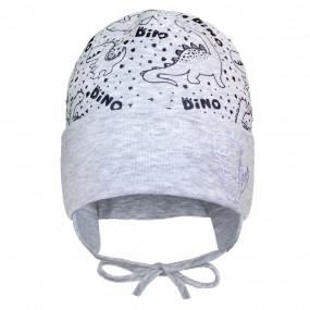 Деми шапка 21319 серый (светоотражающий принт) завязки