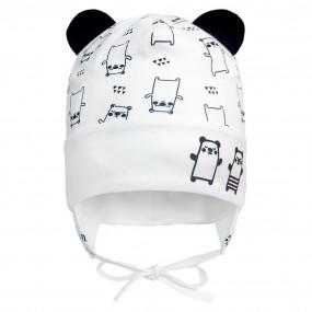 Деми шапка 21343 панды (двойная с ушками) завязки