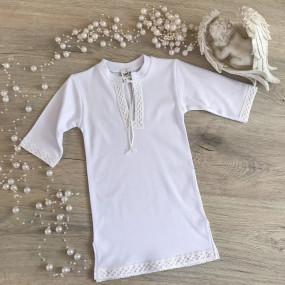 Сорочка для крещения Кристиан-3 (белый), льняное кружево