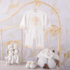 """Костюм """"Чарівний янгол"""" д.р. для крещения мальчика, молочный"""