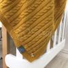Плед Косы-Wellsoft горчица (вязка утеплённая) 100х80 см