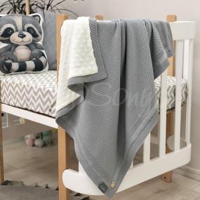 Плед Рогожка-Wellsoft серый (вязка утеплённая) 100х80 см