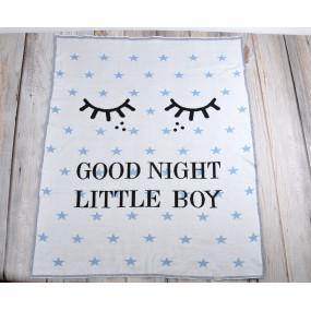 Плед Good Night голубой (100% хлопок) вязка жаккард