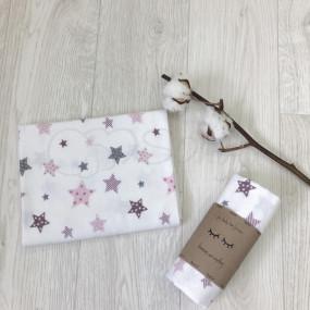 Пеленка Stars фланель (100х80 см) пудра