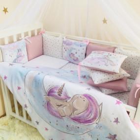 """Постельный комплект """"Magic"""" - Единорог (6 предметов) кровать"""