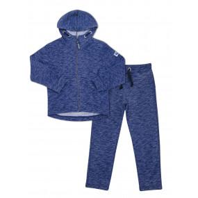 Тёплый спортивный костюм 117182 синий меланж (трёхнитка