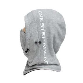 Баф-капюшон-балаклава со съёмной маской (хлопок на флисе) серый