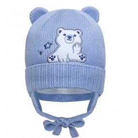 Шапка зима 21430 голубой (премиум) вязка на хлопке, утеплитель