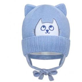 Шапка зима 21431 голубой (премиум) вязка на хлопке, утеплитель