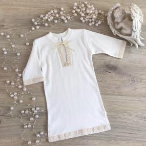 Сорочка для крещения Кристиан-3 (молочный), льняное кружево