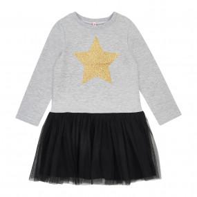 Платье STAR серый-чёрный (двухнитка/еврофатин)