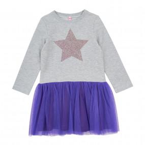 Платье STAR серый-фиолет (двухнитка/еврофатин)